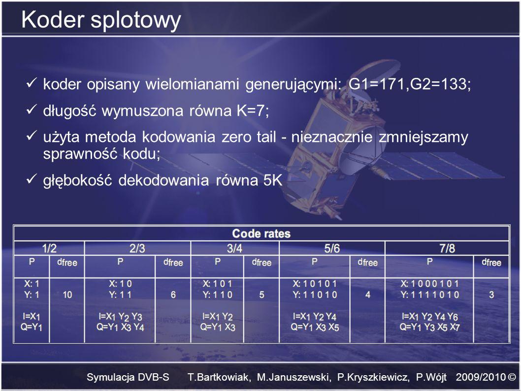 Symulacja DVB-S T.Bartkowiak, M.Januszewski, P.Kryszkiewicz, P.Wójt 2009/2010 © Koder splotowy koder opisany wielomianami generującymi: G1=171,G2=133;