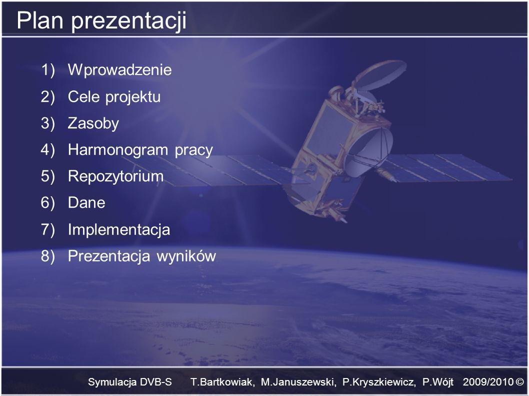 Symulacja DVB-S T.Bartkowiak, M.Januszewski, P.Kryszkiewicz, P.Wójt 2009/2010 © Plan prezentacji 1)Wprowadzenie 2)Cele projektu 3)Zasoby 4)Harmonogram