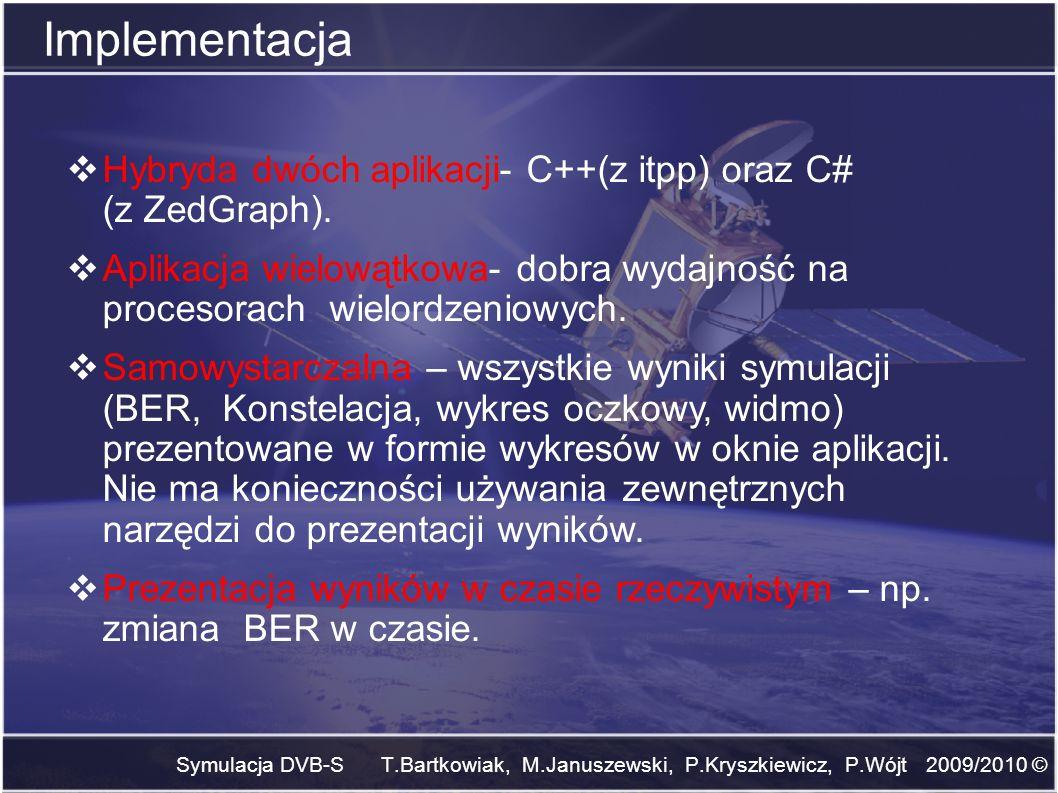 Symulacja DVB-S T.Bartkowiak, M.Januszewski, P.Kryszkiewicz, P.Wójt 2009/2010 © Implementacja Hybryda dwóch aplikacji- C++(z itpp) oraz C# (z ZedGraph