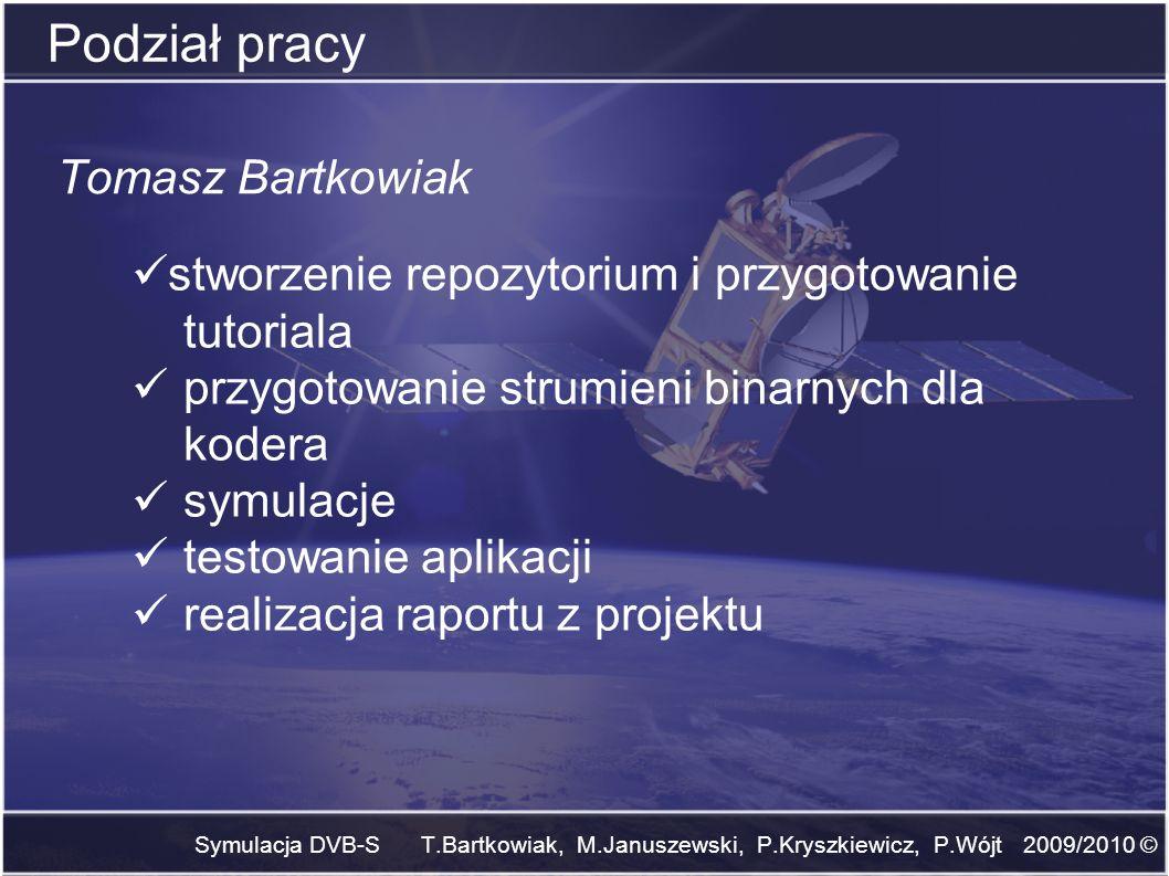 Symulacja DVB-S T.Bartkowiak, M.Januszewski, P.Kryszkiewicz, P.Wójt 2009/2010 © Podział pracy Tomasz Bartkowiak stworzenie repozytorium i przygotowani