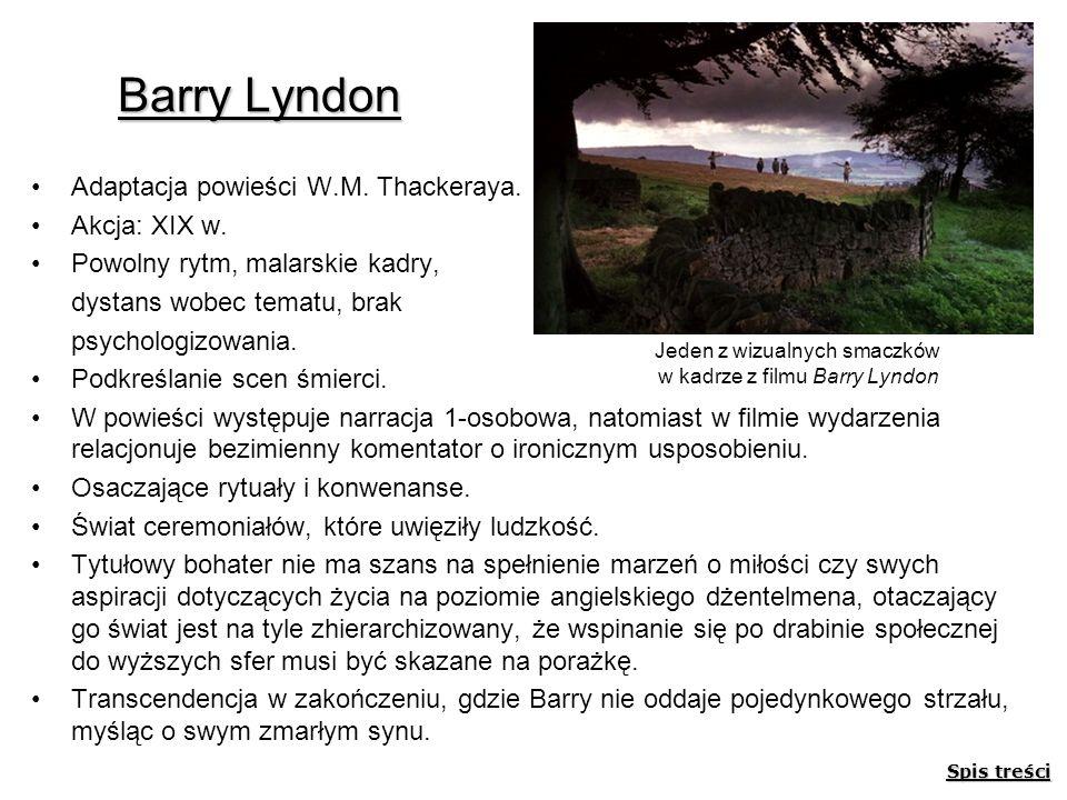 Barry Lyndon Adaptacja powieści W.M. Thackeraya. Akcja: XIX w. Powolny rytm, malarskie kadry, dystans wobec tematu, brak psychologizowania. Podkreślan