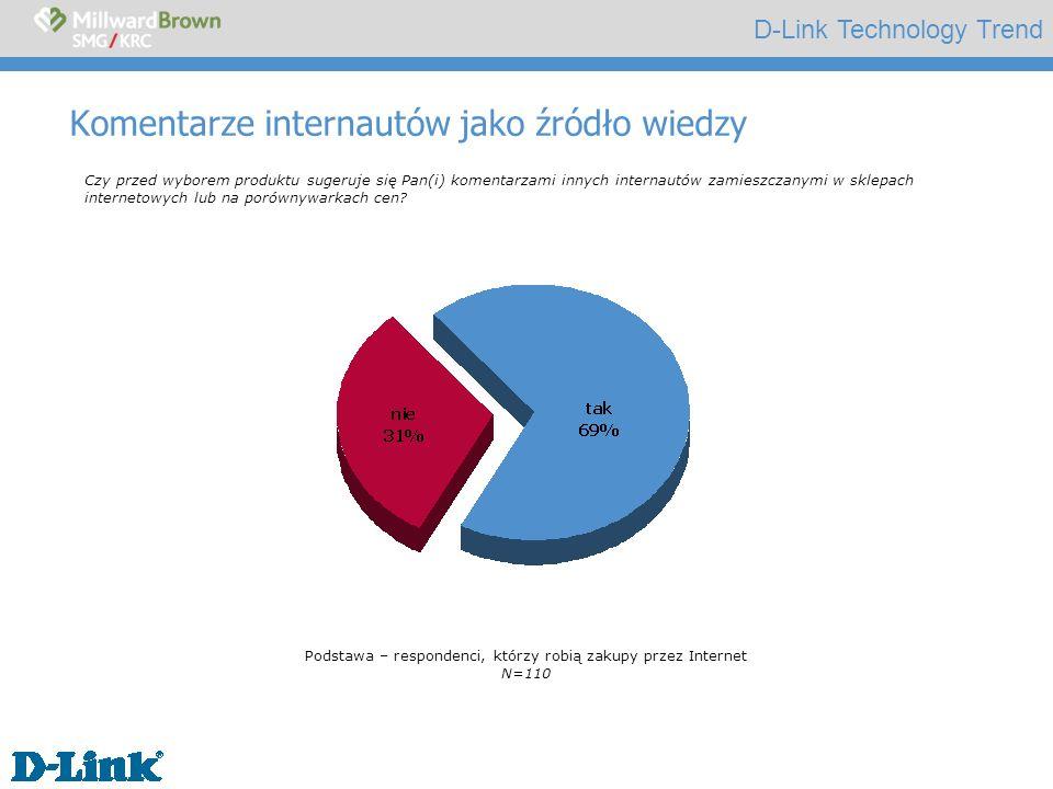 D-Link Technology Trend Komentarze internautów jako źródło wiedzy Czy przed wyborem produktu sugeruje się Pan(i) komentarzami innych internautów zamieszczanymi w sklepach internetowych lub na porównywarkach cen.