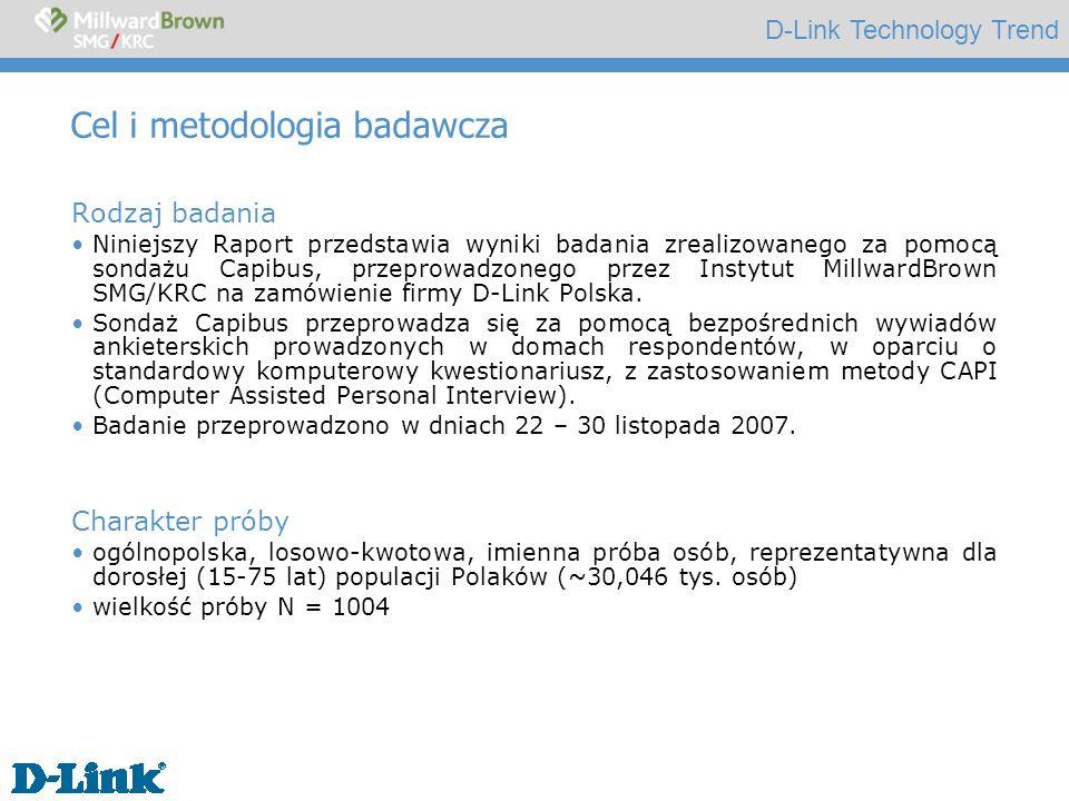 D-Link Technology Trend Cel i metodologia badawcza Rodzaj badania Niniejszy Raport przedstawia wyniki badania zrealizowanego za pomocą sondażu Capibus, przeprowadzonego przez Instytut MillwardBrown SMG/KRC na zamówienie firmy D-Link Polska.