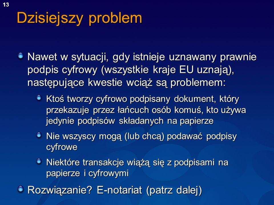 13 Dzisiejszy problem Nawet w sytuacji, gdy istnieje uznawany prawnie podpis cyfrowy (wszystkie kraje EU uznają), następujące kwestie wciąż są problem