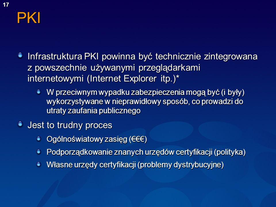 17PKI Infrastruktura PKI powinna być technicznie zintegrowana z powszechnie używanymi przeglądarkami internetowymi (Internet Explorer itp.)* W przeciw