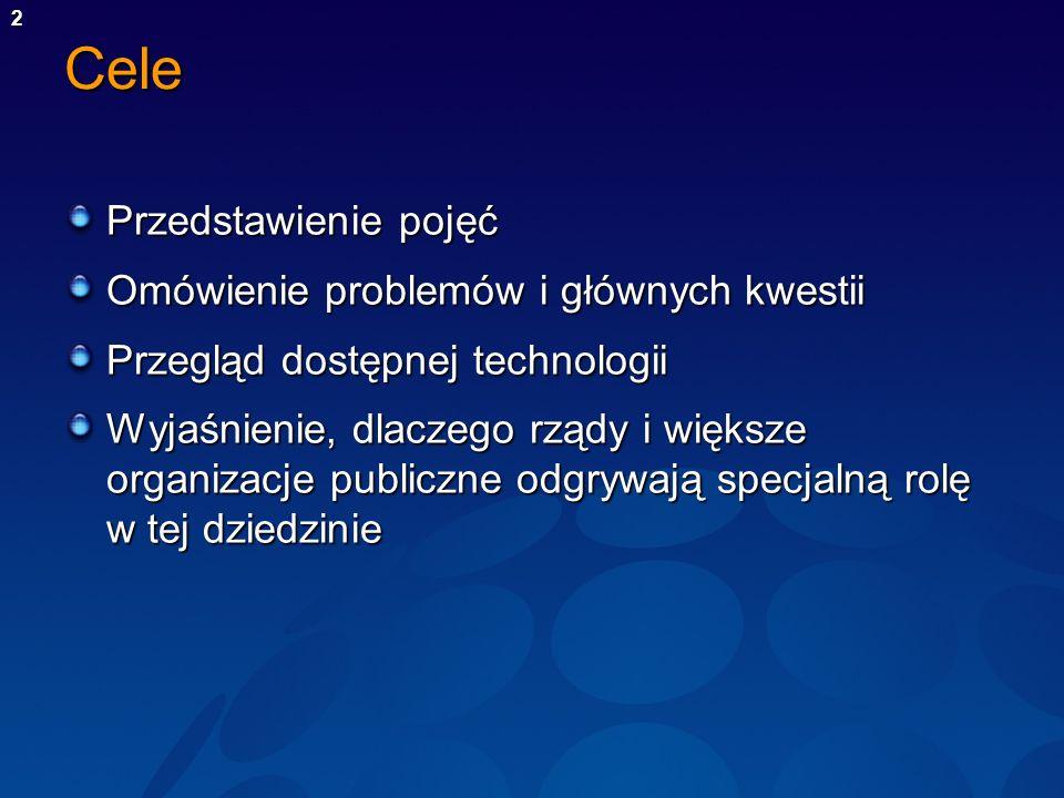 2Cele Przedstawienie pojęć Omówienie problemów i głównych kwestii Przegląd dostępnej technologii Wyjaśnienie, dlaczego rządy i większe organizacje pub