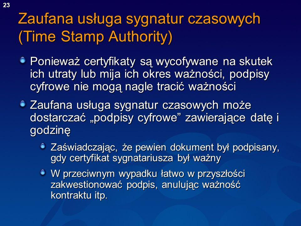 23 Zaufana usługa sygnatur czasowych (Time Stamp Authority) Ponieważ certyfikaty są wycofywane na skutek ich utraty lub mija ich okres ważności, podpi