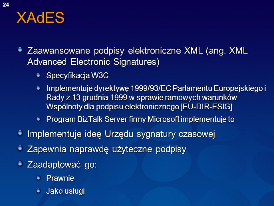 24XAdES Zaawansowane podpisy elektroniczne XML (ang. XML Advanced Electronic Signatures) Specyfikacja W3C Implementuje dyrektywę 1999/93/EC Parlamentu