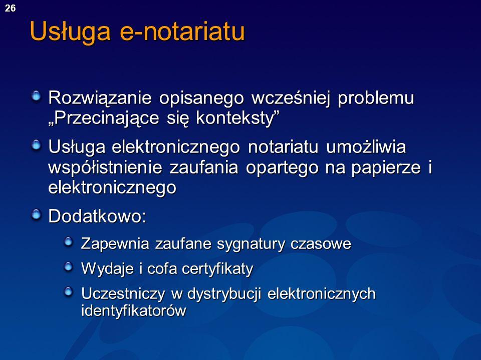 26 Usługa e-notariatu Rozwiązanie opisanego wcześniej problemu Przecinające się konteksty Usługa elektronicznego notariatu umożliwia współistnienie za
