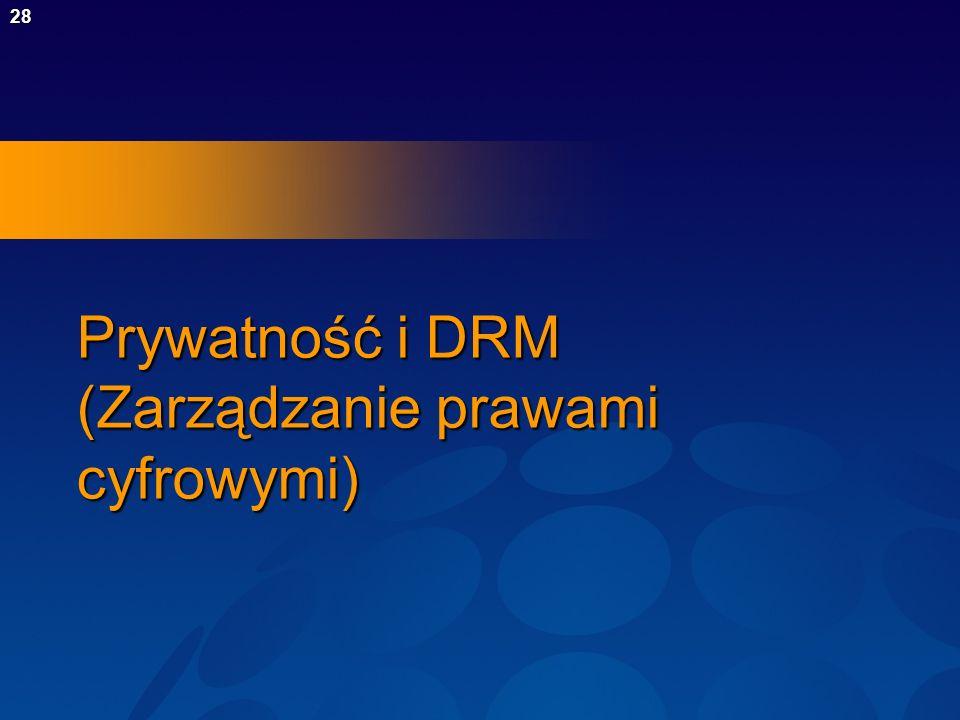28 Prywatność i DRM (Zarządzanie prawami cyfrowymi)