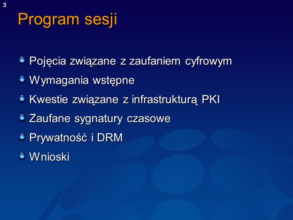 3 Program sesji Pojęcia związane z zaufaniem cyfrowym Wymagania wstępne Kwestie związane z infrastrukturą PKI Zaufane sygnatury czasowe Prywatność i D