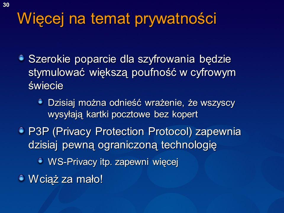 30 Więcej na temat prywatności Szerokie poparcie dla szyfrowania będzie stymulować większą poufność w cyfrowym świecie Dzisiaj można odnieść wrażenie,