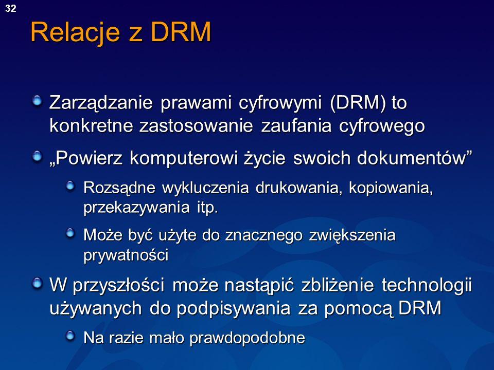 32 Relacje z DRM Zarządzanie prawami cyfrowymi (DRM) to konkretne zastosowanie zaufania cyfrowego Powierz komputerowi życie swoich dokumentów Rozsądne
