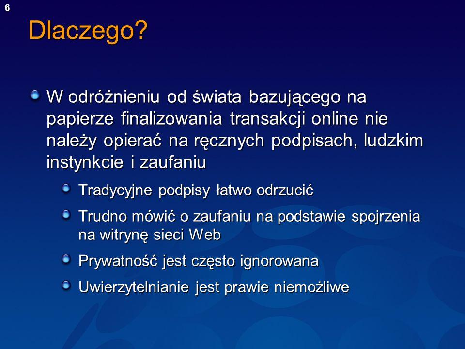 6 Dlaczego? W odróżnieniu od świata bazującego na papierze finalizowania transakcji online nie należy opierać na ręcznych podpisach, ludzkim instynkci