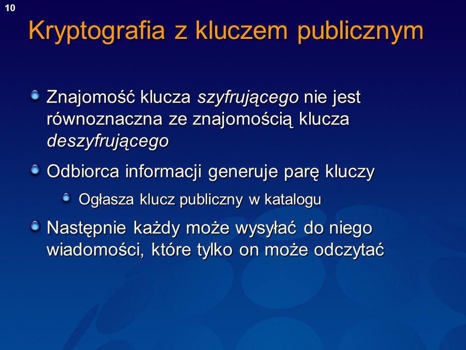 10 Kryptografia z kluczem publicznym Znajomość klucza szyfrującego nie jest równoznaczna ze znajomością klucza deszyfrującego Odbiorca informacji gene