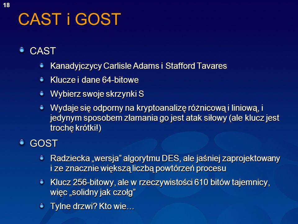 18 CAST i GOST CAST Kanadyjczycy Carlisle Adams i Stafford Tavares Klucze i dane 64-bitowe Wybierz swoje skrzynki S Wydaje się odporny na kryptoanaliz