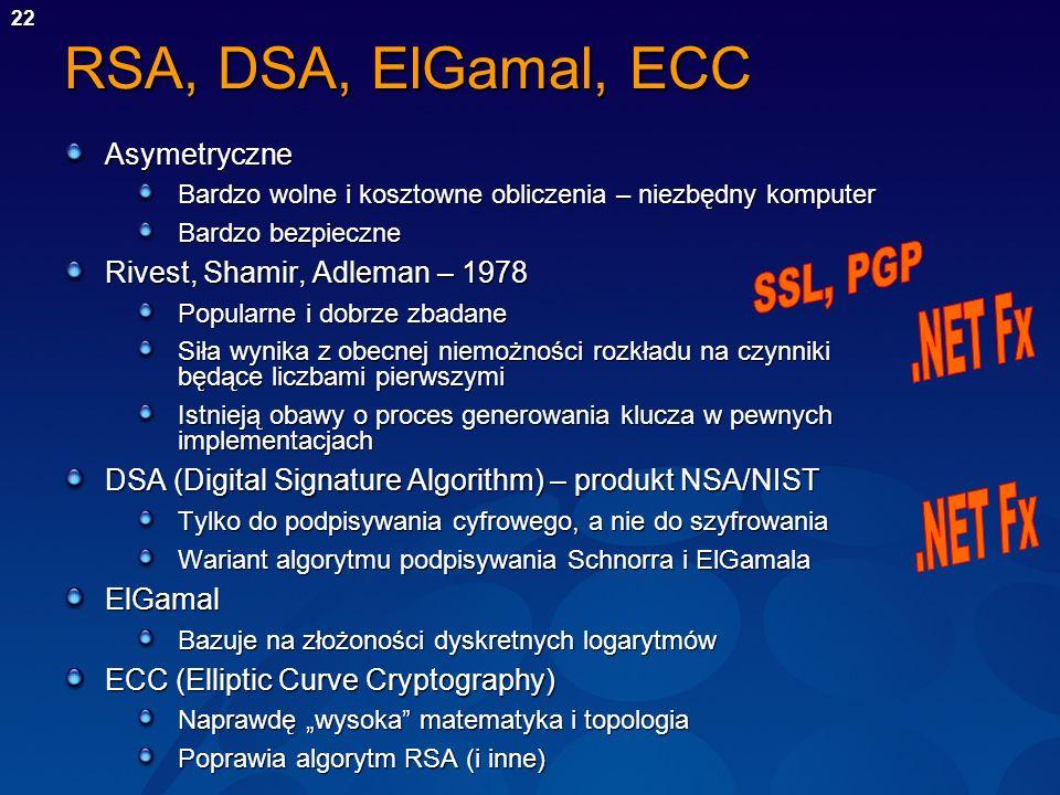 22 RSA, DSA, ElGamal, ECC Asymetryczne Bardzo wolne i kosztowne obliczenia – niezbędny komputer Bardzo bezpieczne Rivest, Shamir, Adleman – 1978 Popul
