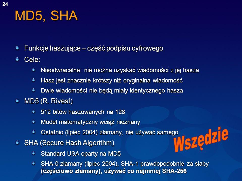 24 MD5, SHA Funkcje haszujące – część podpisu cyfrowego Cele: Nieodwracalne: nie można uzyskać wiadomości z jej hasza Hasz jest znacznie krótszy niż o