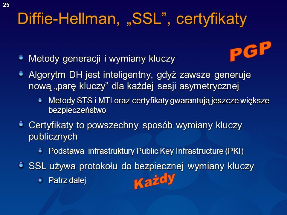 25 Diffie-Hellman, SSL, certyfikaty Metody generacji i wymiany kluczy Algorytm DH jest inteligentny, gdyż zawsze generuje nową parę kluczy dla każdej
