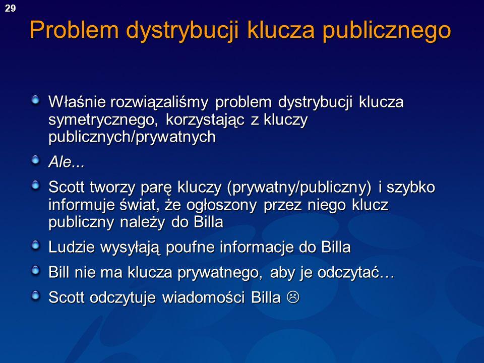 29 Problem dystrybucji klucza publicznego Właśnie rozwiązaliśmy problem dystrybucji klucza symetrycznego, korzystając z kluczy publicznych/prywatnych