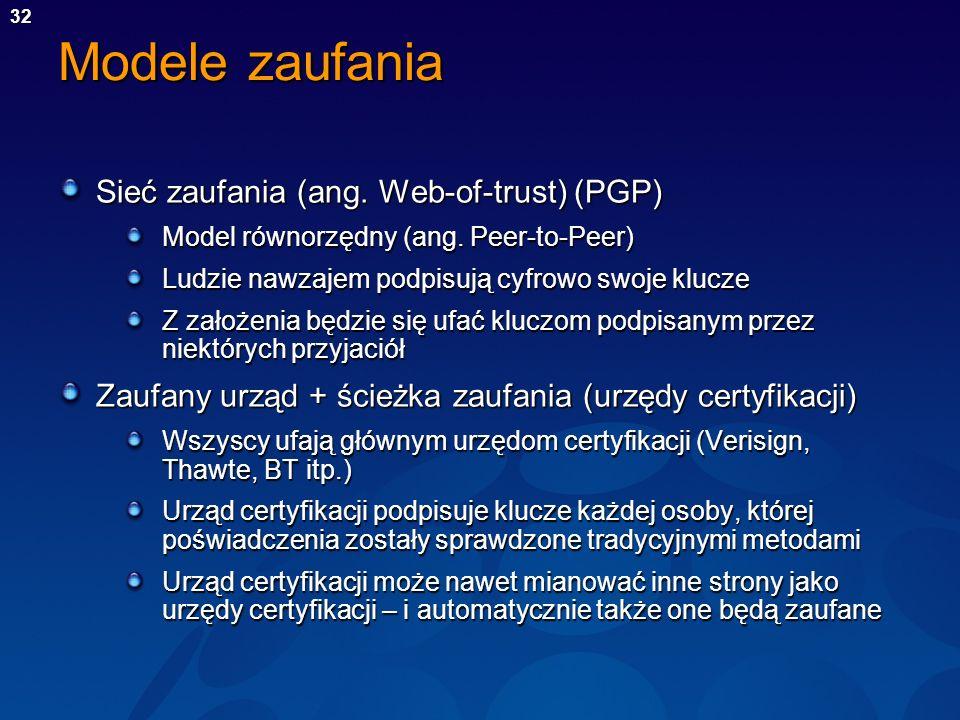 32 Modele zaufania Sieć zaufania (ang. Web-of-trust) (PGP) Model równorzędny (ang. Peer-to-Peer) Ludzie nawzajem podpisują cyfrowo swoje klucze Z zało