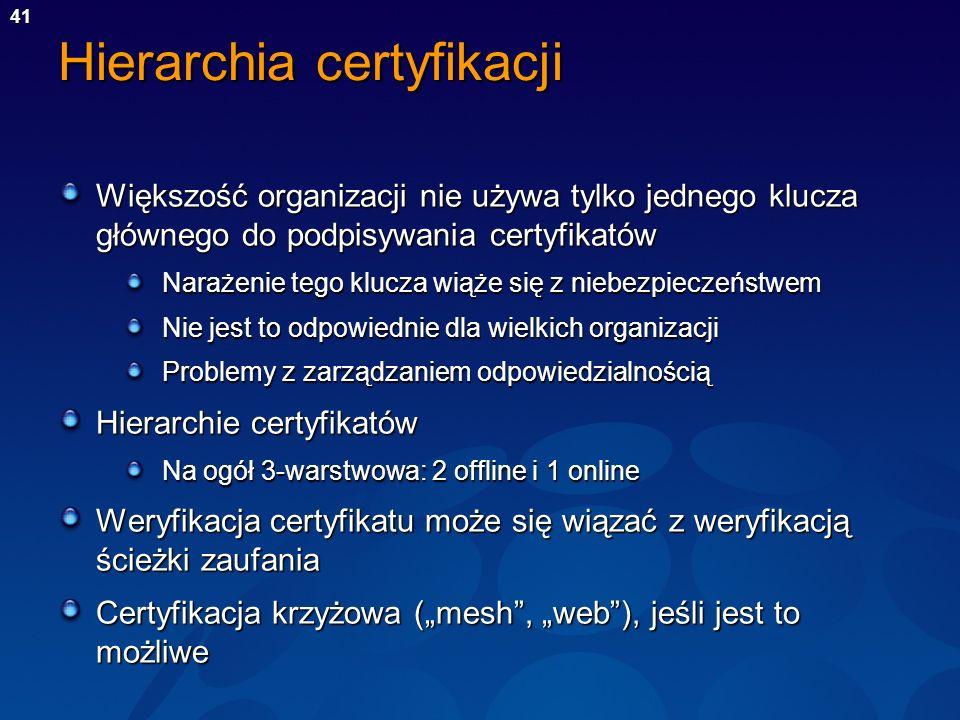 41 Hierarchia certyfikacji Większość organizacji nie używa tylko jednego klucza głównego do podpisywania certyfikatów Narażenie tego klucza wiąże się
