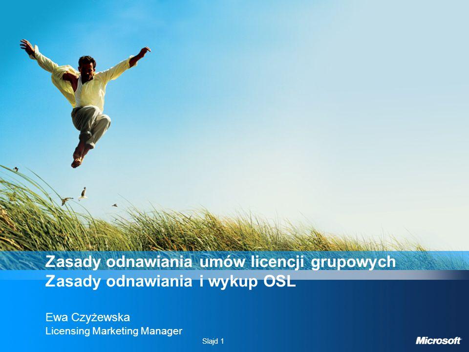 Slajd 1 Zasady odnawiania umów licencji grupowych Zasady odnawiania i wykup OSL Ewa Czyżewska Licensing Marketing Manager