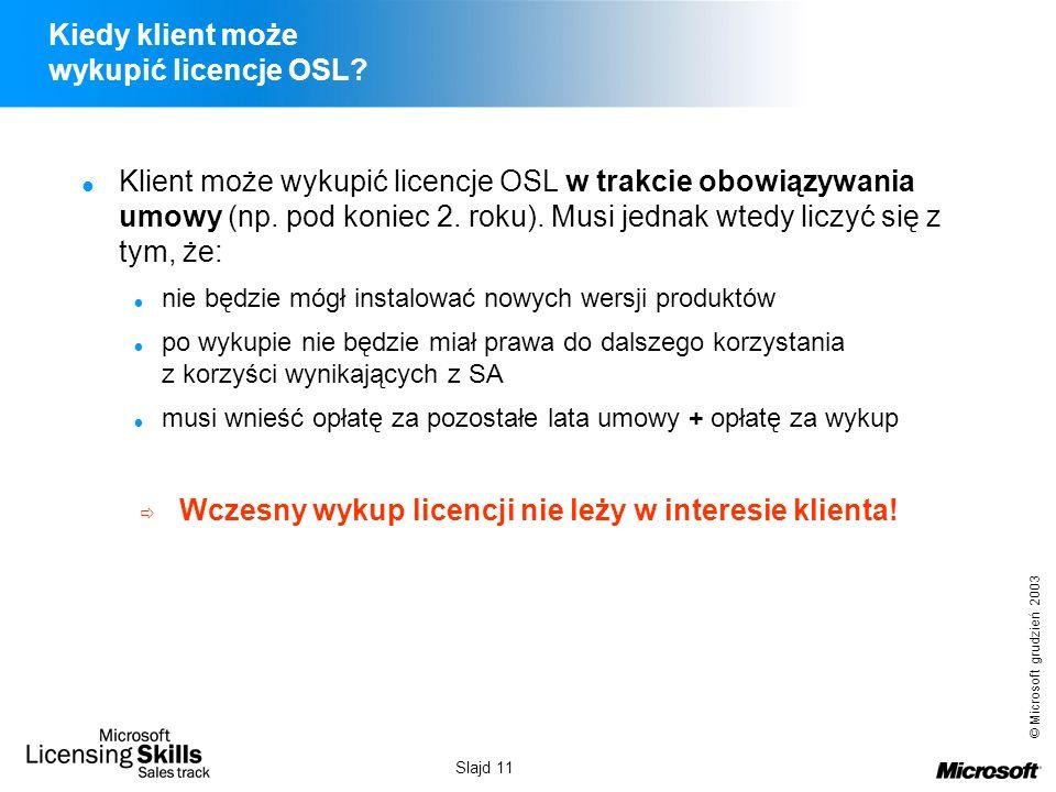 © Microsoft grudzień 2003 Slajd 11 Kiedy klient może wykupić licencje OSL? Klient może wykupić licencje OSL w trakcie obowiązywania umowy (np. pod kon