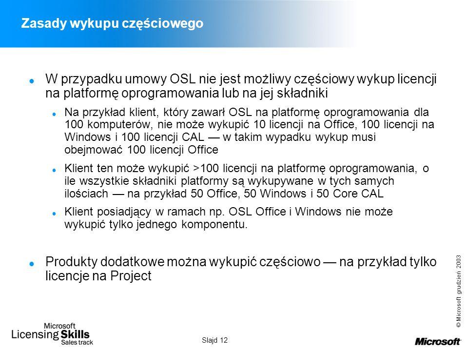 © Microsoft grudzień 2003 Slajd 12 Zasady wykupu częściowego W przypadku umowy OSL nie jest możliwy częściowy wykup licencji na platformę oprogramowan
