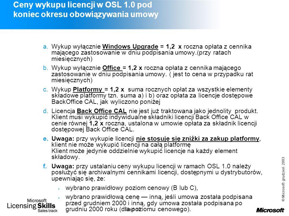 © Microsoft grudzień 2003 Slajd 15 Ceny wykupu licencji w OSL 1.0 pod koniec okresu obowiązywania umowy a.Wykup wyłącznie Windows Upgrade = 1,2 x rocz