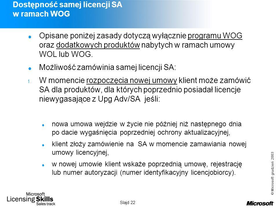 © Microsoft grudzień 2003 Slajd 22 Dostępność samej licencji SA w ramach WOG Opisane poniżej zasady dotyczą wyłącznie programu WOG oraz dodatkowych pr