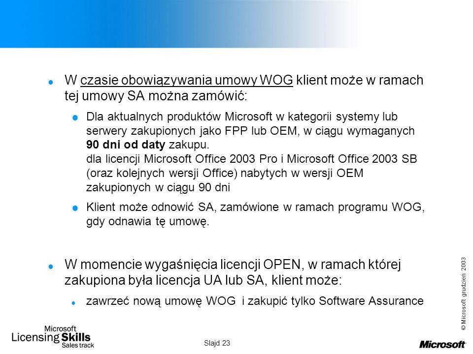 © Microsoft grudzień 2003 Slajd 23 W czasie obowiązywania umowy WOG klient może w ramach tej umowy SA można zamówić: Dla aktualnych produktów Microsof