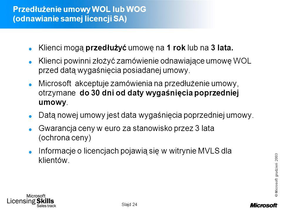 © Microsoft grudzień 2003 Slajd 24 Przedłużenie umowy WOL lub WOG (odnawianie samej licencji SA) Klienci mogą przedłużyć umowę na 1 rok lub na 3 lata.