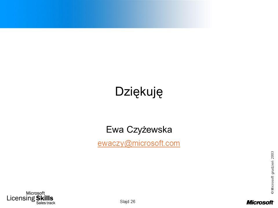 © Microsoft grudzień 2003 Slajd 26 Dziękuję Ewa Czyżewska ewaczy@microsoft.com