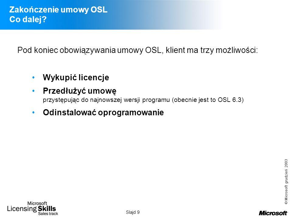 © Microsoft grudzień 2003 Slajd 9 Zakończenie umowy OSL Co dalej? Pod koniec obowiązywania umowy OSL, klient ma trzy możliwości: Wykupić licencje Prze