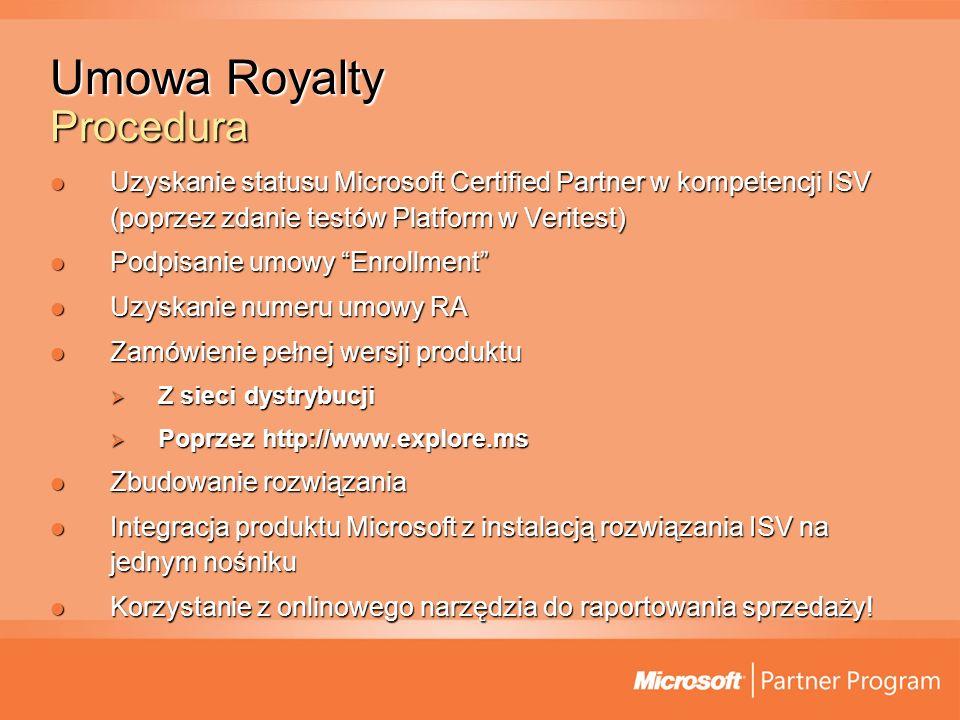 Umowa Royalty Procedura Uzyskanie statusu Microsoft Certified Partner w kompetencji ISV (poprzez zdanie testów Platform w Veritest) Uzyskanie statusu