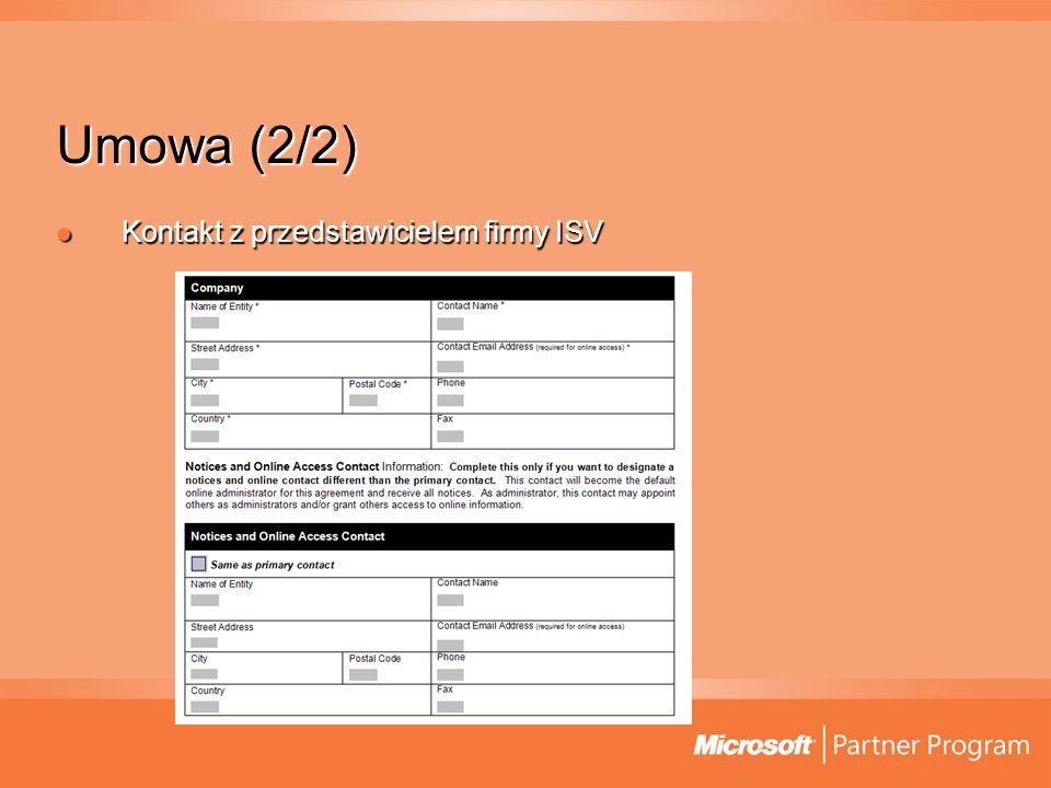 Umowa (2/2) Kontakt z przedstawicielem firmy ISV Kontakt z przedstawicielem firmy ISV