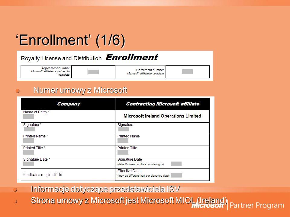 Enrollment (1/6) Numer umowy z Microsoft Numer umowy z Microsoft Informacje dotyczące przedstawiciela ISV Informacje dotyczące przedstawiciela ISV Str