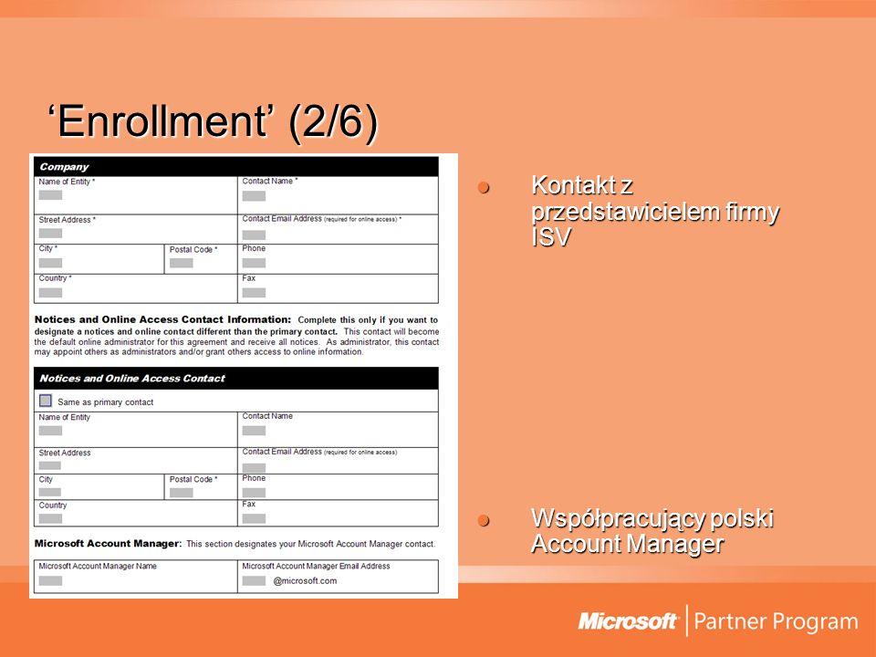 Enrollment (2/6) Kontakt z przedstawicielem firmy ISV Kontakt z przedstawicielem firmy ISV Współpracujący polski Account Manager Współpracujący polski