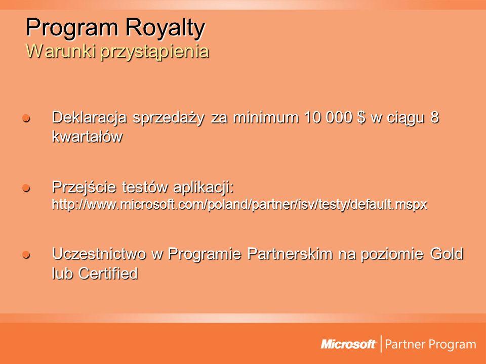 Program Royalty Korzyści (1/2) Redukcja kosztów Redukcja kosztów Dostęp do specjalnych cen dla partnerów ISV Dostęp do specjalnych cen dla partnerów ISV Wzrost przychodów Wzrost przychodów Wliczenie cen licencji Microsoft do kosztów całości rozwiązania Wliczenie cen licencji Microsoft do kosztów całości rozwiązania Dostarczenie kompletnego rozwiązania Dostarczenie kompletnego rozwiązania Zakup kompletnego rozwiązania uproszczony o zakup licencji Microsoft, a zarazem eliminujący poddostawcę platformy Microsoft Zakup kompletnego rozwiązania uproszczony o zakup licencji Microsoft, a zarazem eliminujący poddostawcę platformy Microsoft
