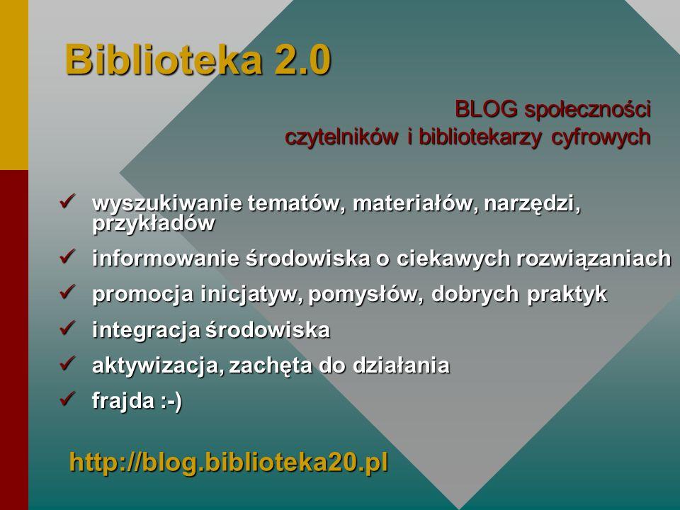 Biblioteka 2.0 wyszukiwanie tematów, materiałów, narzędzi, przykładów wyszukiwanie tematów, materiałów, narzędzi, przykładów informowanie środowiska o