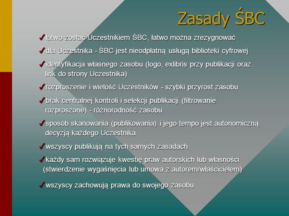 Zasady ŚBC 4łatwo zostać Uczestnikiem ŚBC, łatwo można zrezygnować 4dla Uczestnika - ŚBC jest nieodpłatną usługą biblioteki cyfrowej 4identyfikacja wł