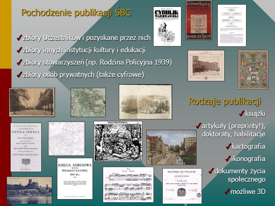 Pochodzenie publikacji ŚBC 4zbiory Uczestników i pozyskane przez nich 4zbiory innych instytucji kultury i edukacji 4zbiory stowarzyszeń (np. Rodzina P
