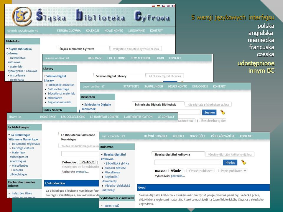 5 wersji językowych interfejsu 5 wersji językowych interfejsu polska angielska niemiecka francuska czeska udostępnione innym BC