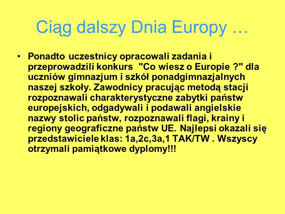 Ciąg dalszy Dnia Europy … Ponadto uczestnicy opracowali zadania i przeprowadzili konkurs Co wiesz o Europie dla uczniów gimnazjum i szkół ponadgimnazjalnych naszej szkoły.