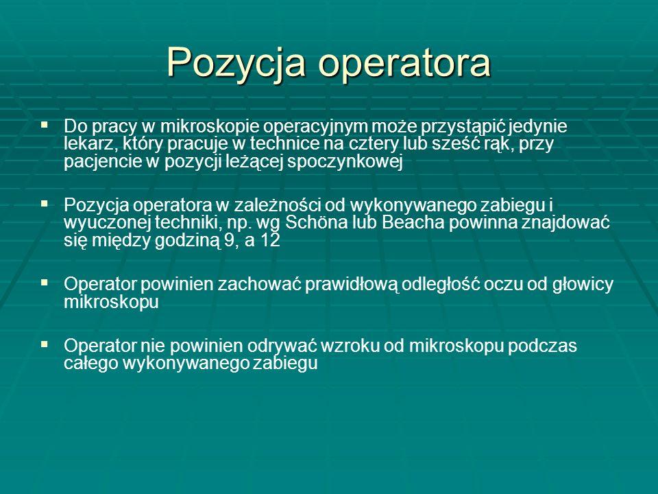 Pozycja operatora Ciało operatora powinno być podparte we wszystkich pięciu stopniach, a szczególnie w stopniu trzecim: I stopień - podparcie palców dłoni pracującej o łuki zębowe lub wyrostki zębodołowe, II stopień - podparcie dłoni i nadgarstków operatora o twarz pacjenta (czoło, policzki, brodę), III stopień - podparcie łokci i przedramion operatora IV stopień - podparcie tułowia miednicy i ud operatora V stopień - podparcie stóp operatora