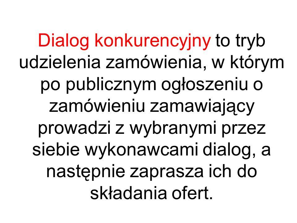 Dialog konkurencyjny to tryb udzielenia zamówienia, w którym po publicznym ogłoszeniu o zamówieniu zamawiający prowadzi z wybranymi przez siebie wykon