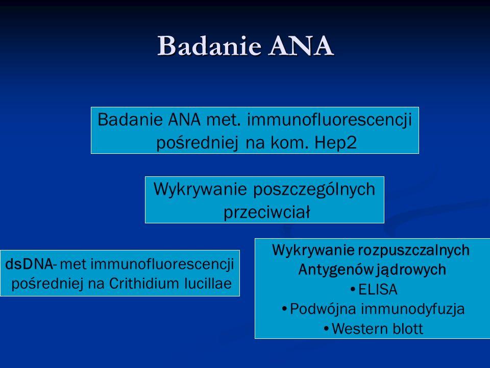 Badanie ANA met. immunofluorescencji pośredniej na kom. Hep2 Wykrywanie poszczególnych przeciwciał dsDNA- met immunofluorescencji pośredniej na Crithi