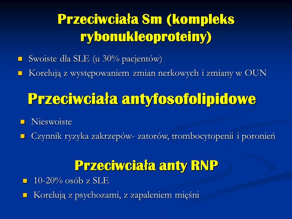 Przeciwcia ł a Sm (kompleks rybonukleoproteiny) Swoiste dla SLE (u 30% pacjentów) Swoiste dla SLE (u 30% pacjentów) Korelują z występowaniem zmian ner