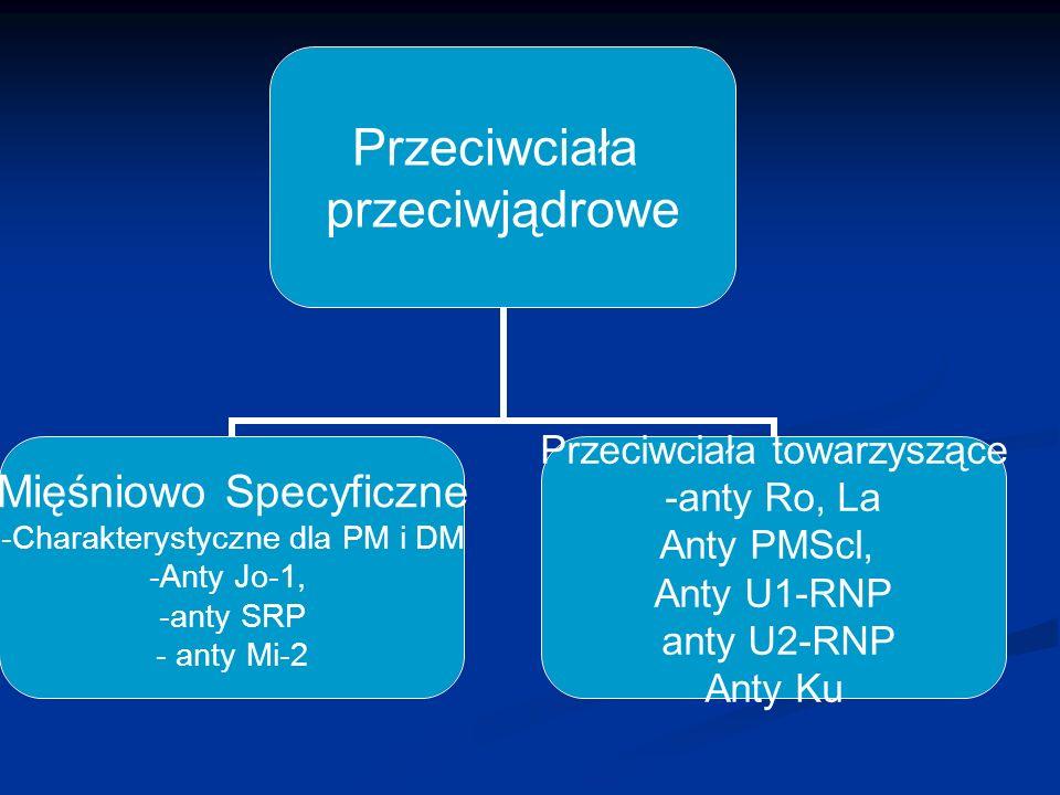 Przeciwciała przeciwjądrowe Mięśniowo Specyficzne Charakterystyczne dla PM i DM Anty Jo-1, anty SRP anty Mi-2 Przeciwciała towarzyszące -anty Ro, La A
